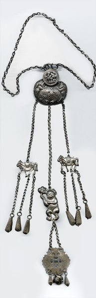 nlvs745(e)-Antique Qing Dynasty bride's silver lock and amulet necklace