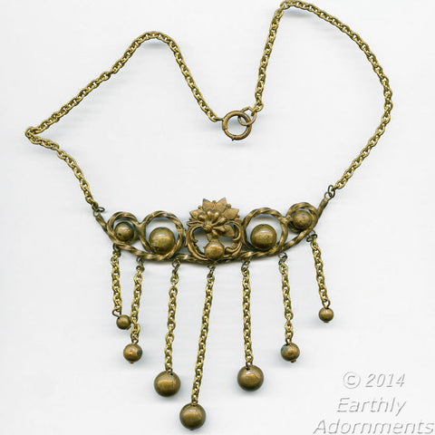 nlvn839(e)-Vintage fabulous forties brass fringed bib necklace