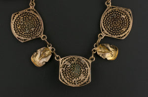 1940s Egyptian Revival gilt brass filigree necklace. nlvn859