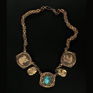 1940's Egyptian Revival gilt brass filigree necklace. nlvn859