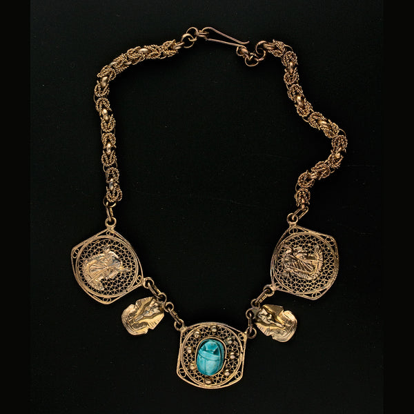 1940's Egyptian Revival gilt brass filigree necklace. nlvn859(e)