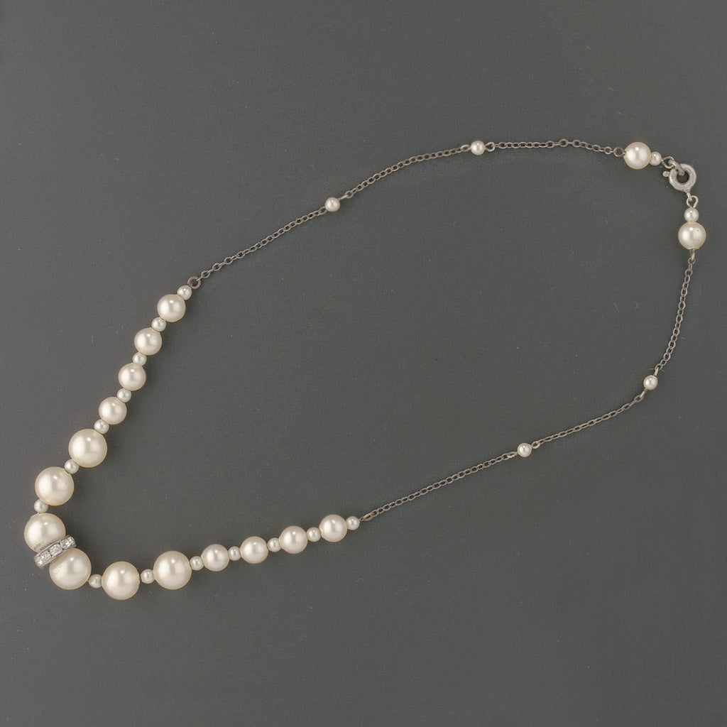 Art Deco glass pearl and rhinestone rondelle necklace. nlvn860