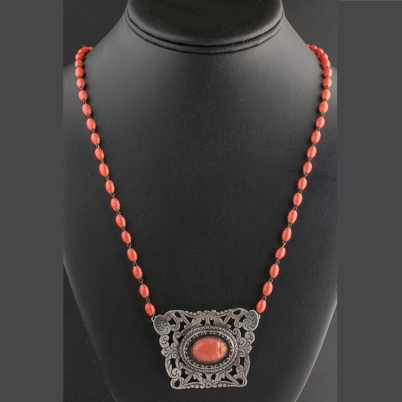 Vintage sterling silver celluloid coral scarab pendant glass bead chain necklace. nlvn862