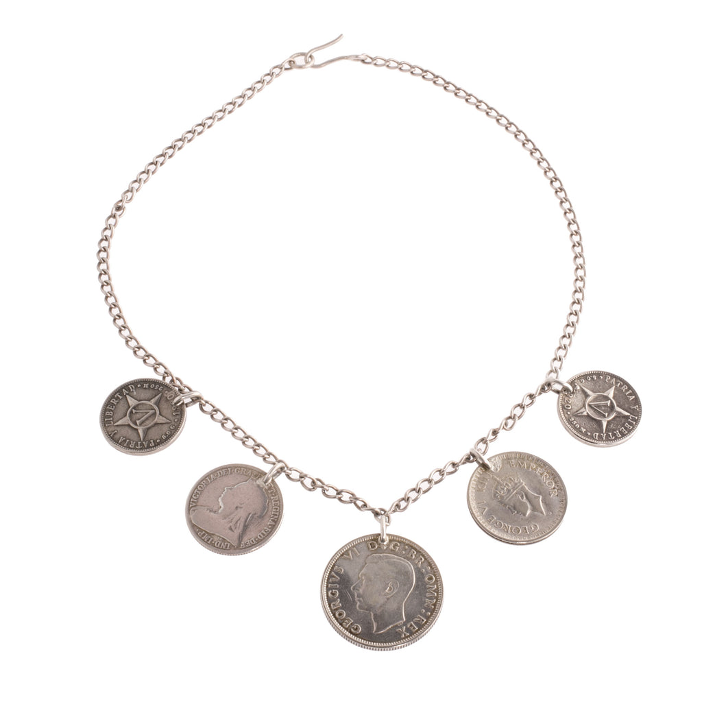 Vintage bib necklace with 5 collectible vintage and antique coins. nlvn866