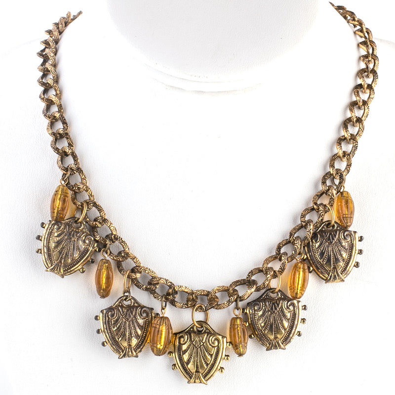 1940s Etruscan Revival brass and glass bead fringe 19 inch necklace. nlvn870