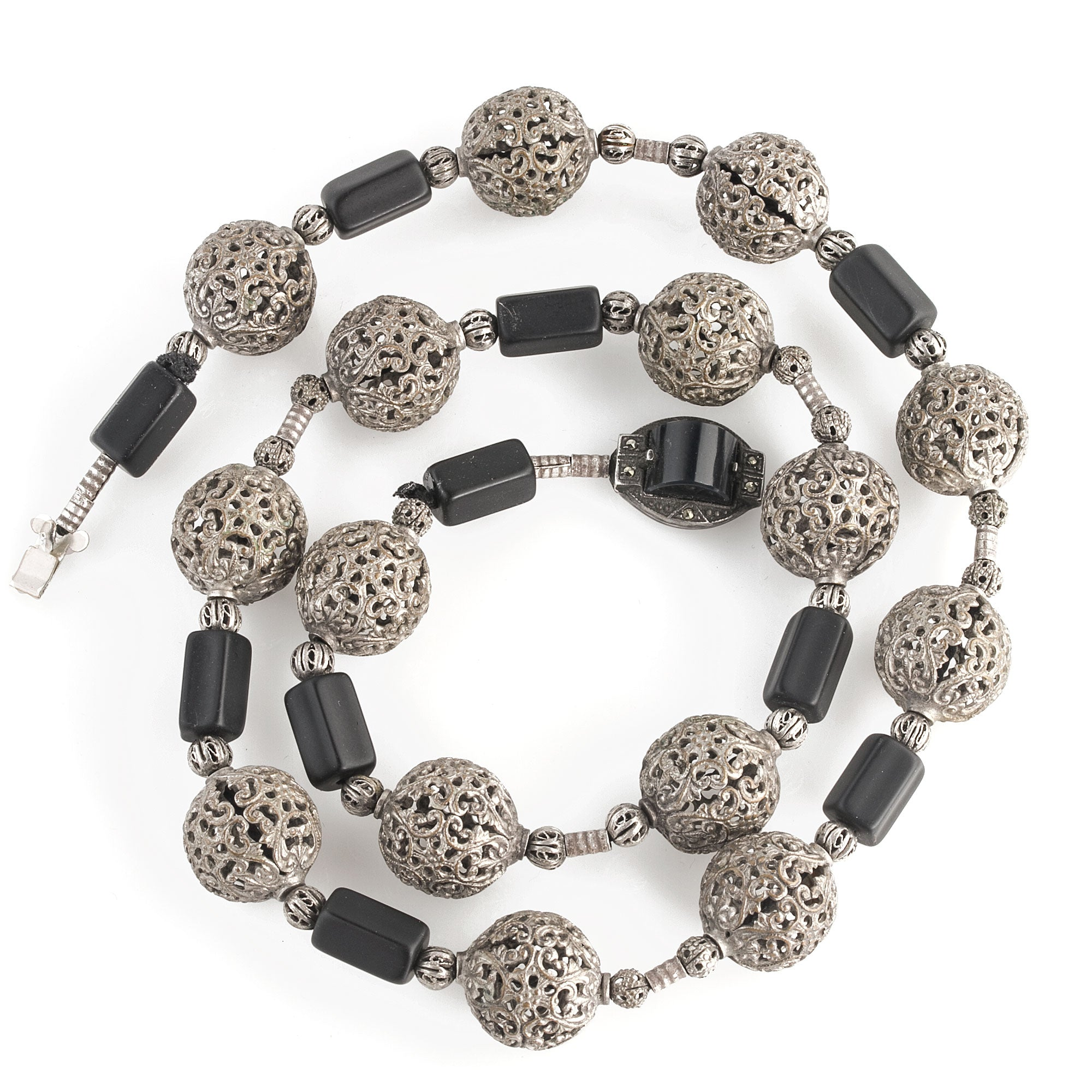 Sides are made in bead crochet silver. stainless woven beads with black and silver foil accent beads Avant-garde necklace Beaded Necklace