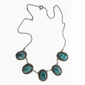 Vintage Egyptian revival turquoise faience scarab sterling link necklace. nlvs754