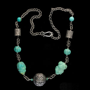 Old Chinese carved turquoise and silver bead necklace. nlvs767