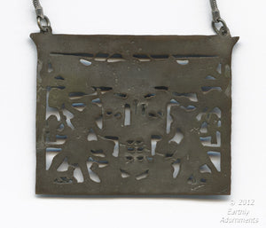 Vintage enameled silver over Egyptian revival pendant with silver chain. pdad111lj