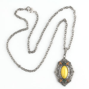 Art Deco chrome plated pendant with enamel decor and yellow satin glass stone. Czechoslovakia. pdbg109