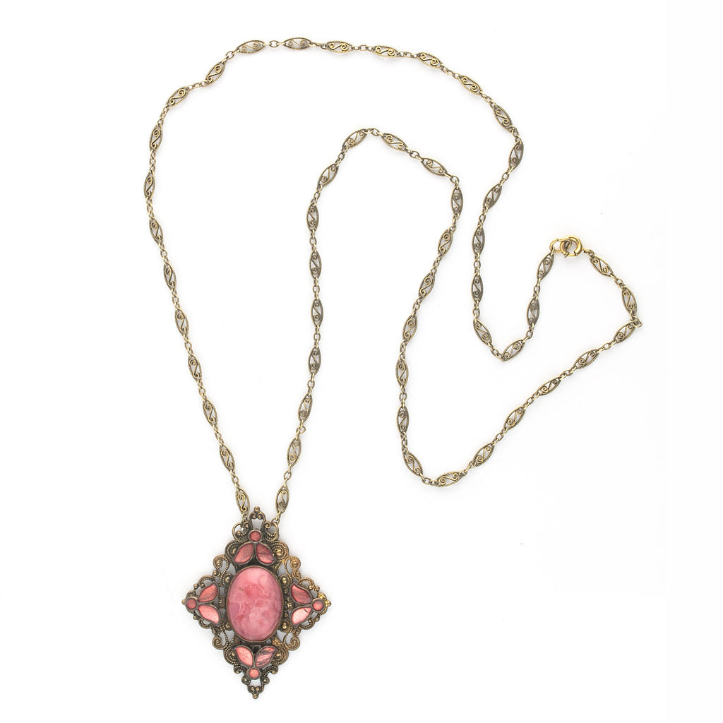 Antique Edwardian brass enamel and satin glass stone pendant on brass chain. Bohemia. pdbg110