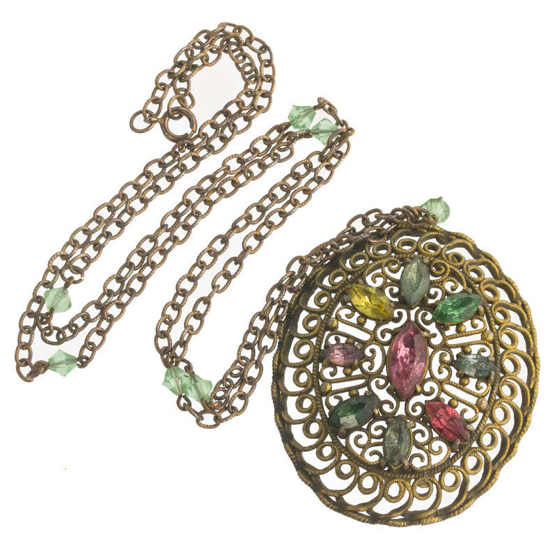 Edwardian brass filigree pendant with multi colored glass stones. pded072