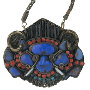 Old Tibetan Wrathful Deity pendant necklace, lapis, coral and glass. pdet140