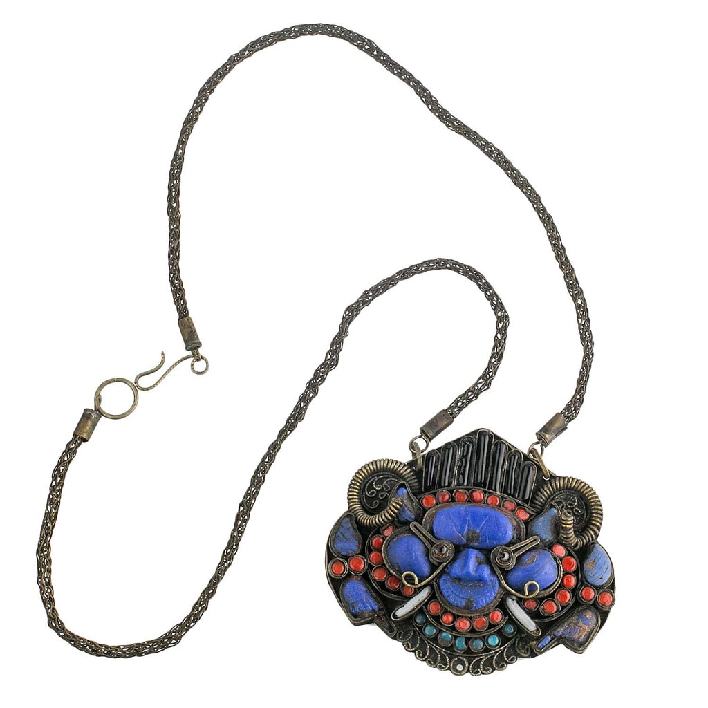 Old Tibetan Wrathful Deity pendant necklace, lapis, coral and glass. pdet140e