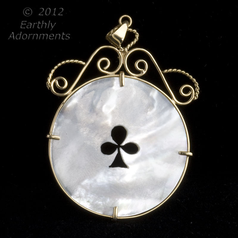 14k antique Chinese mother of pearl gaming chip pendant. Pdfn121