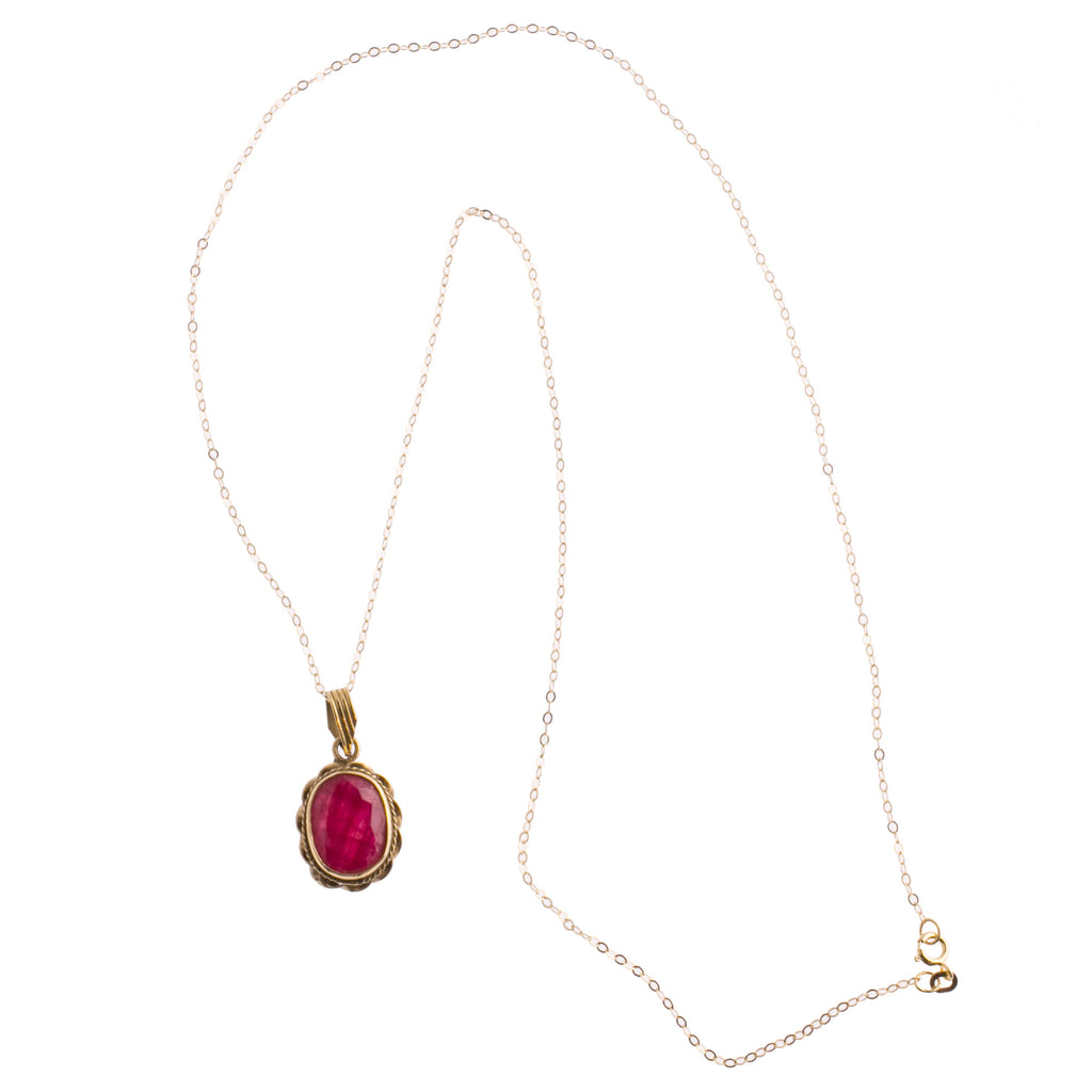 Vintage faceted ruby pendant  in 14k gold setting. 14k gold chain. Pdfn125