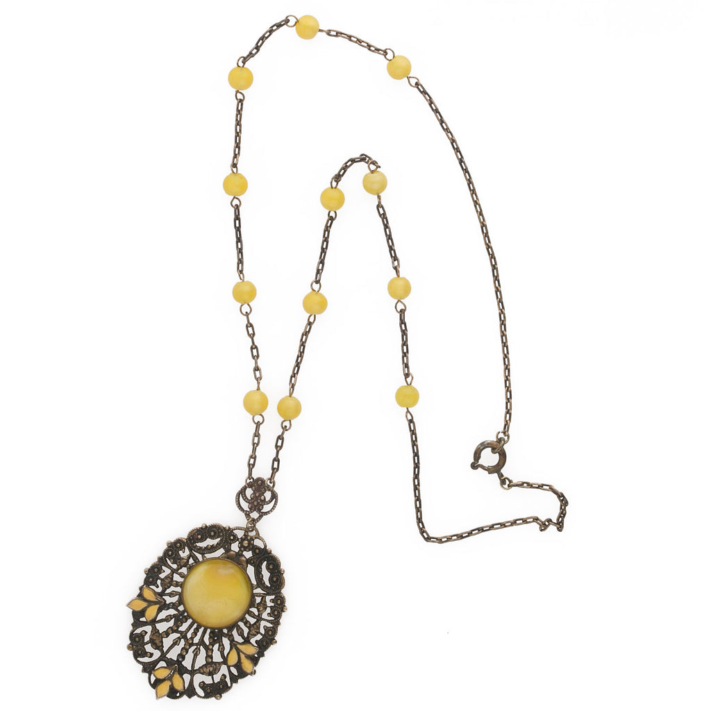 Antique Edwardian brass enamel and yellow satin glass stone pendant lavaliere necklace. Bohemia. pdbg111