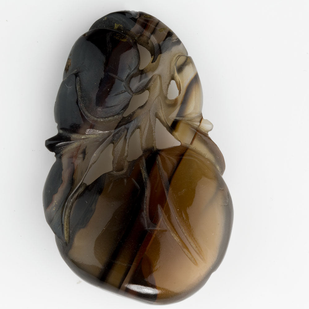 Antique high quality, hand carved translucent banded agate pendant. pdgm109(e)