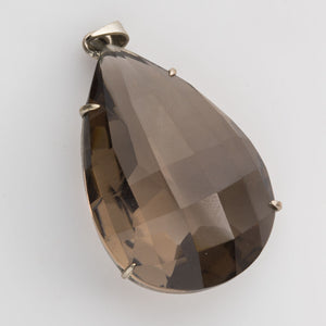 Vintage smokey quartz and sterling silver pendant. pdgm113(e)