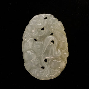 Vintage carved jadeite pendant depicting fruit and flowers. pdgm139(e)