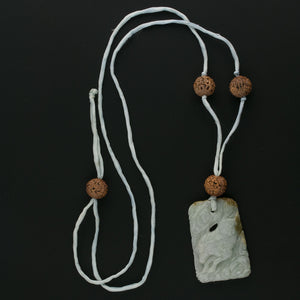 Vintage Chinese carved nephrite horse pendant with antique carved nut beads on silk cord pdgm143(e)