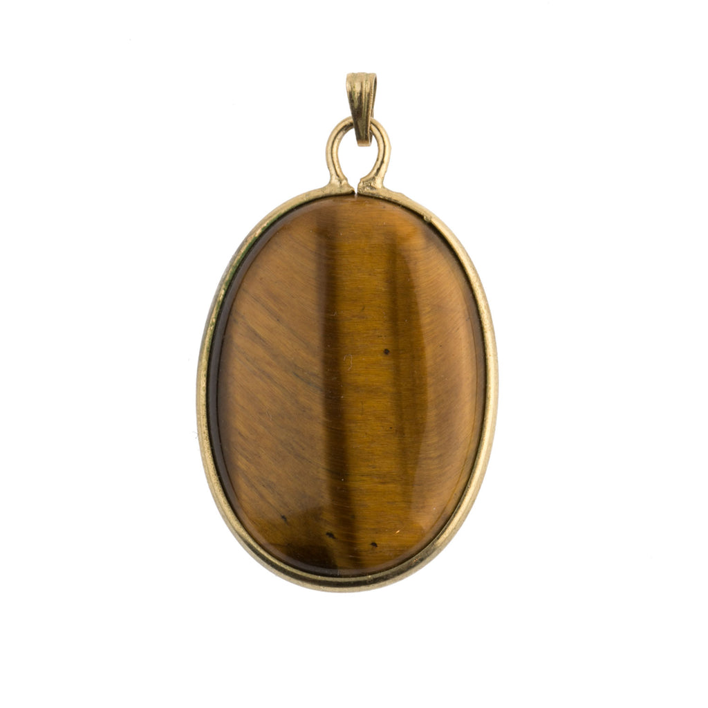 Vintage Tiger Eye agate  pendant gold filled setting.  pdgm145