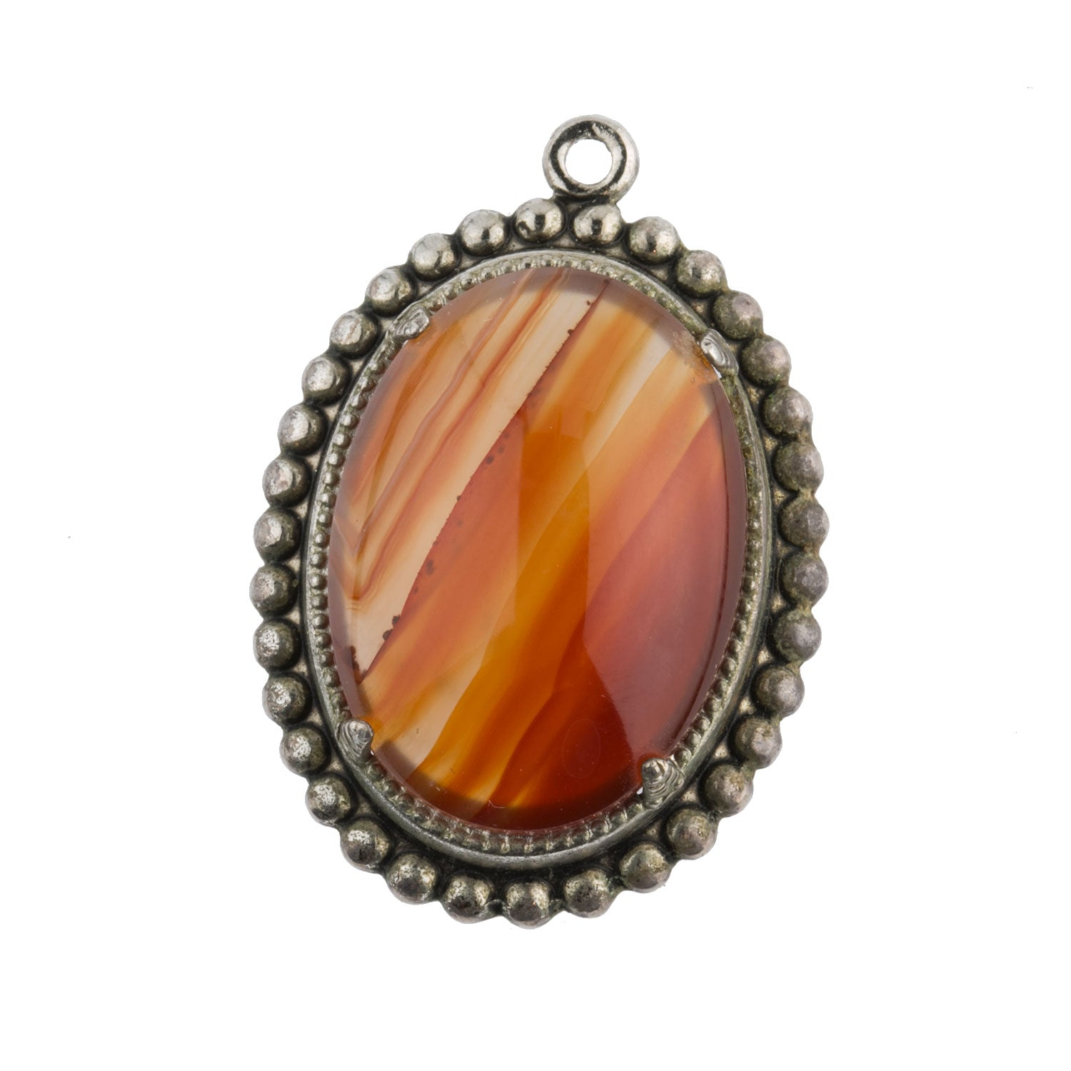 Fine Jewelry Vtg 800 Silver Real Carnelian Gemstone Arabic Pin Brooch