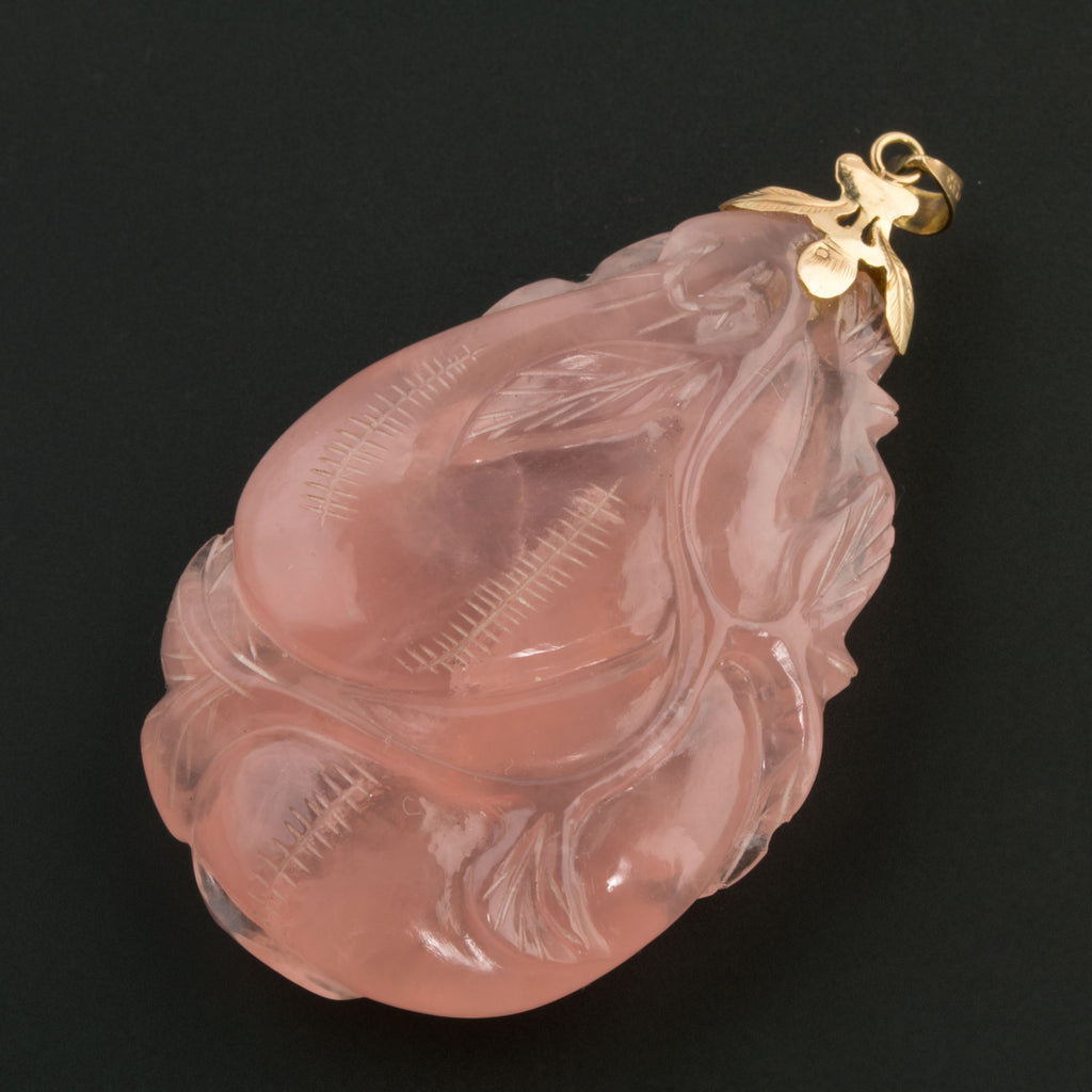Vintage Chinese 14k gold bail natural carved large rose quartz peaches and leaves. pdgm147