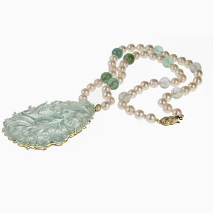 Carved aquamarine pendant necklace with Japanese Akoya semi-baroque pearls and tourmaline beads. 14k yellow gold. pdgm116