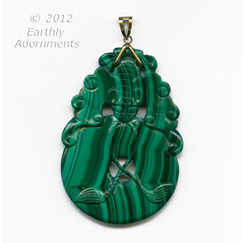 Vintage Chinese fine malachite carved bat pendant. 14k bail. pdgm107(e)