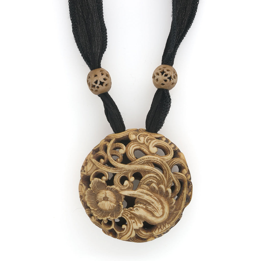 Vintage finely carved Chinese ox-bone ornamental disk on silk ribbon pdiv856(e)