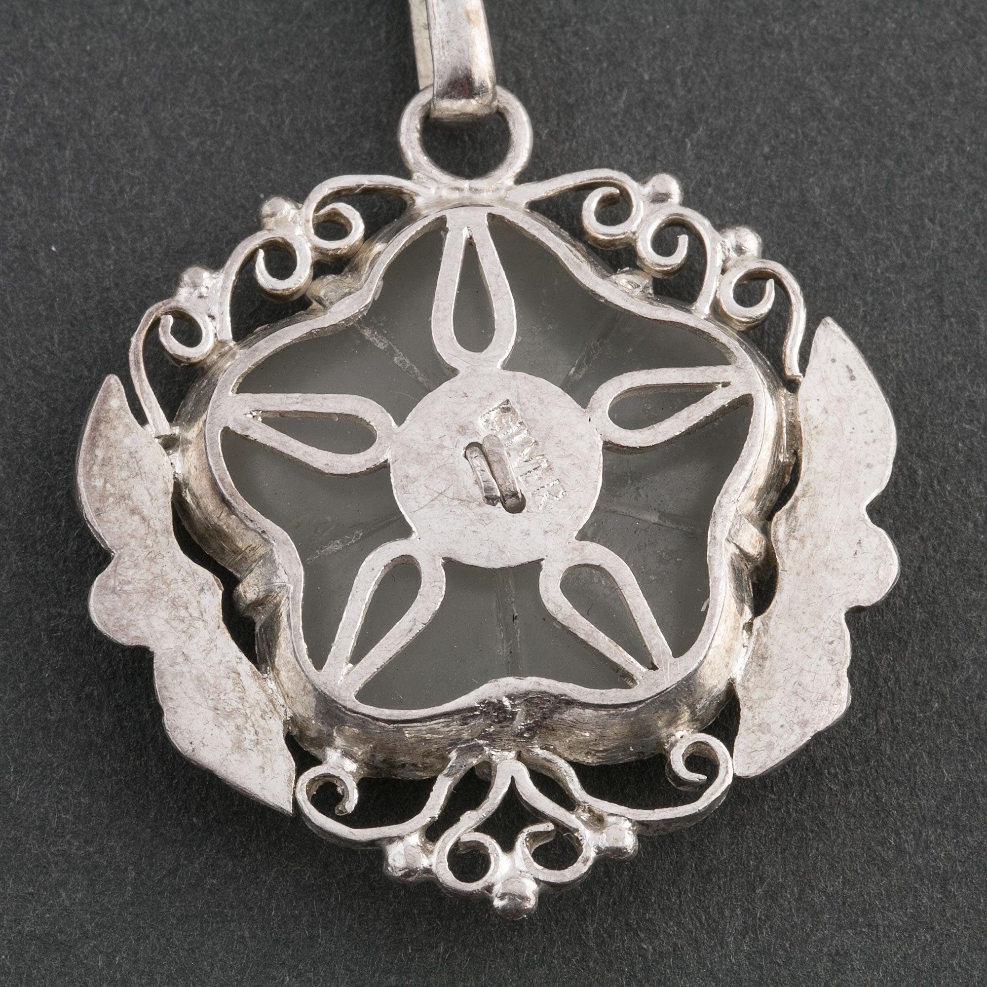 Coral pin pendant sterling silver flower carving ethnic design