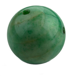 Huge spectacular natural mottled green jadeite jade 32mm drilled bead. pdja749