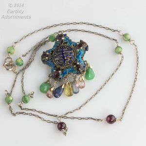 Vintage Chinese export silver and enamel double sided pendant with jade, quartz and tourmaline gems on silver chain with garnets and jade beads. pdor418