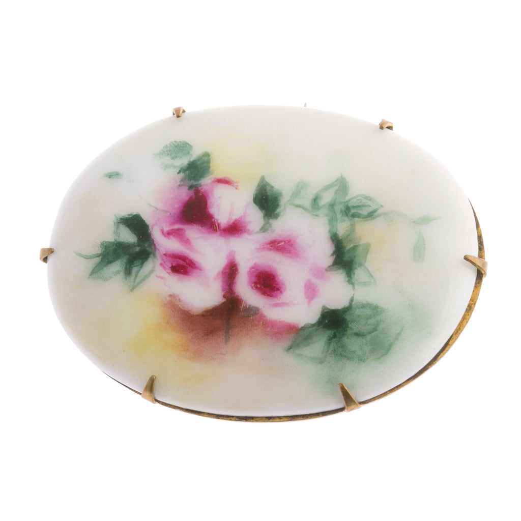 "Antique Victorian large hand-painted  porcelain roses and leaves brooch.  2""x1"". pdvc1084"