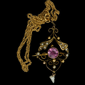 Victorian tourmaline pendant / brooch with freshwater and Mississippi River pearls. pdvc167