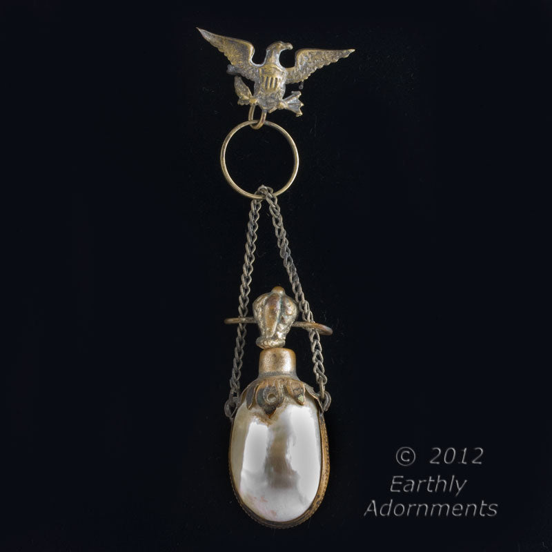 19th century bi-valve mother of pearl shell snuff bottle suspended from Eagle watch pin. pdvc453