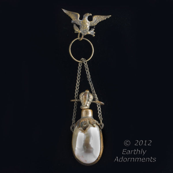 19th century bi-valve mother of pearl shell snuff bottle suspended from Eagle watch pin. pdvc453(e)