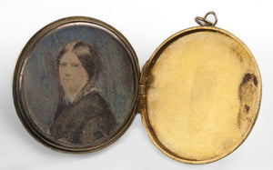 Antique Georgian opal diamond and 18k yellow and white gold mourning locket with watercolor portrait circa 1820-1830. pdvc457