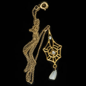 pdvc464-Antique Victorian gold-filled pendant with diamond and pearls on chain