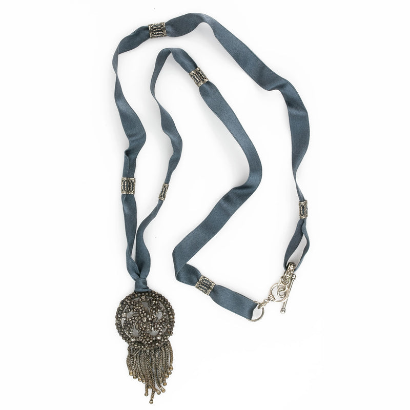 Antique French cut steel pendant on satin ribbon with silver ornaments and clasp. pdvc466(e)