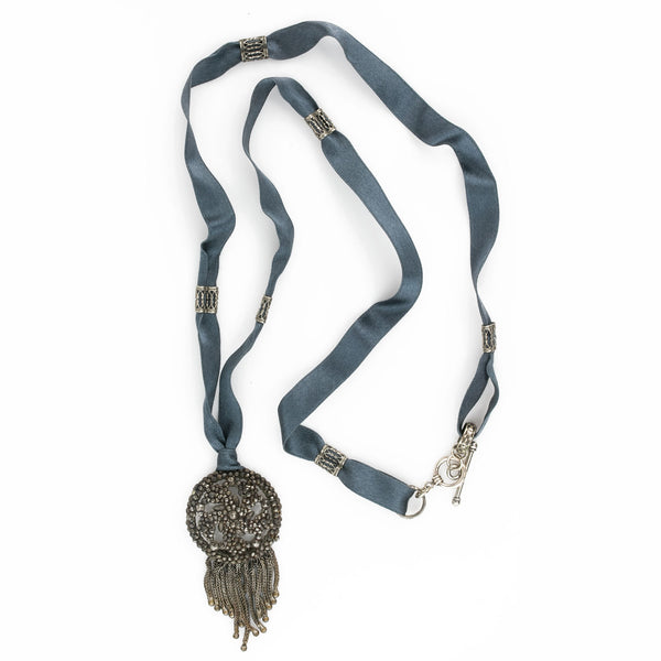 Antique French cut steel pendant on satin ribbon with silver onaments and clasp. pdvc466(e)