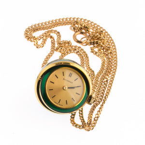 "Estate Bucherer enameled 17 Jewel Swiss made ""eyeball"" pendant watch. 8k rolled gold Amerik curb chain. pdvn807"