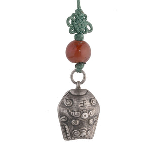 Antique Chinese Qing dynasty hollow repousse ox chime with I Ching trigram and carnelian bead pdvs602