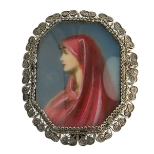 Vintage 800 Silver Filigree and Painted Saint Fabiola Portrait Pin/Pendant. pdvs516