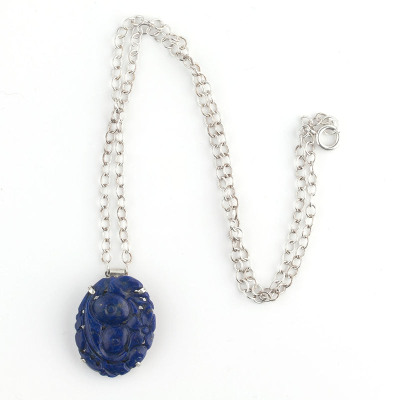Vintage carved natural Lapis Lazuli pendant with sterling silver chain. pdvs570(e)