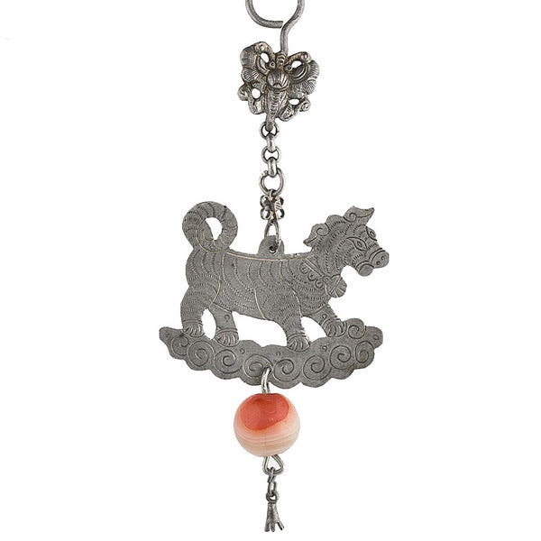 Antique Chinese Qing Dynasty coin silver dog amulet with carnelian bead pdvs590(e)