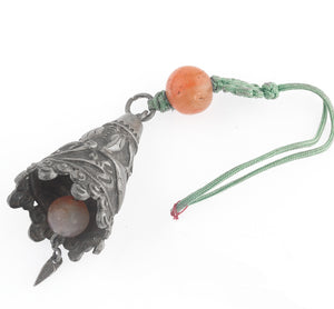 Antique Chinese Qing Dynasty coin silver ornamental bell with carnelian beads. pdvs594