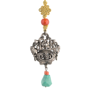 Antique Chinese Qing Dynasty coin silver hollow basket ornament with turquoise and carnelian. pdvs608