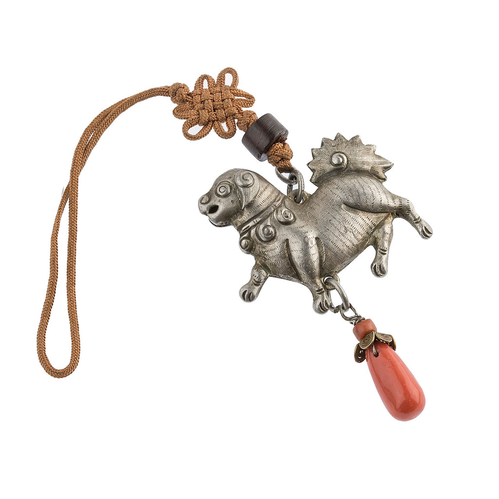 Antique Chinese Qing dynasty hollow coin silver repoussé dog ornament with coral bead. Pdvs614